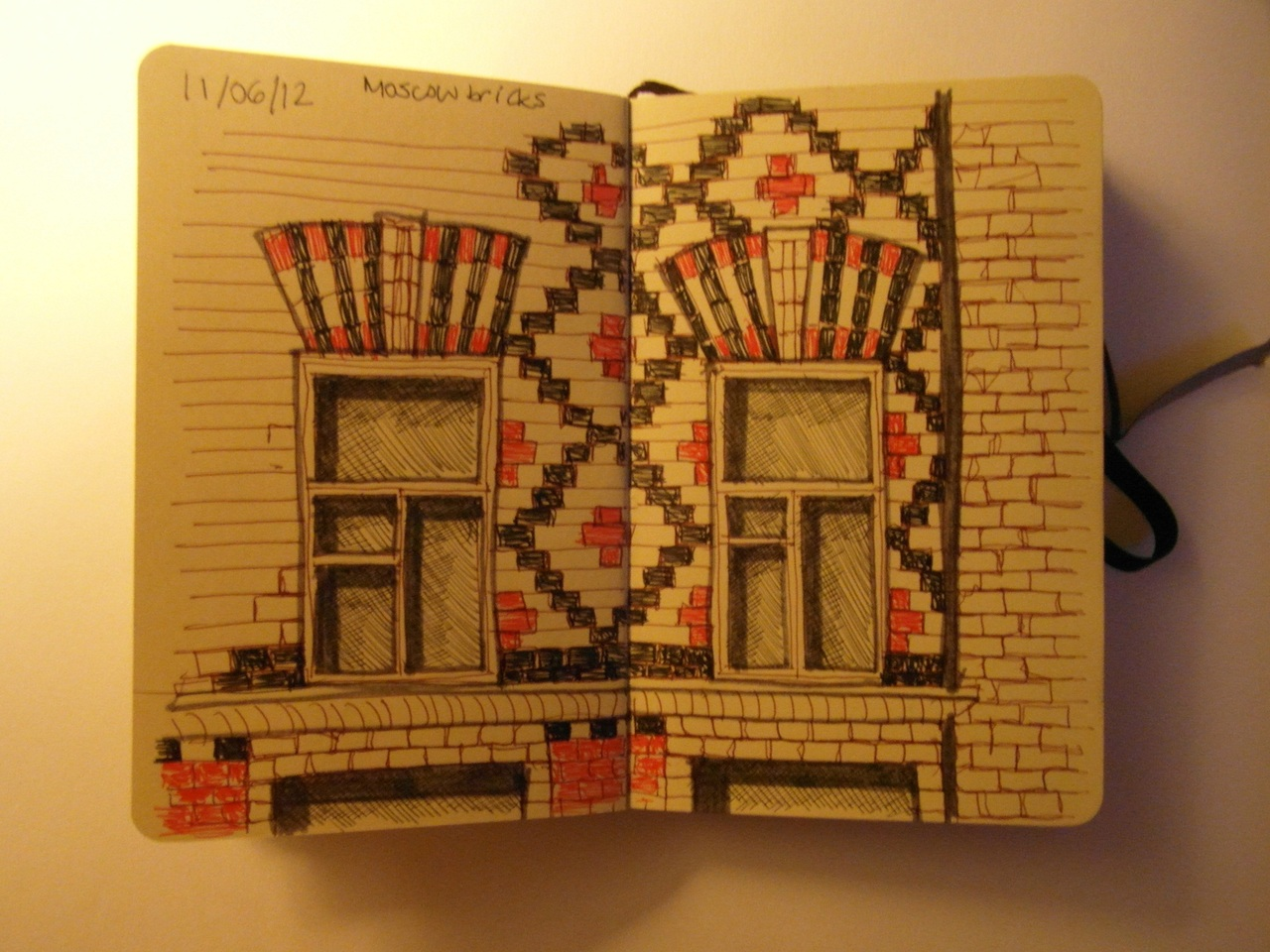 365 drawings later … day 132 … moscow bricks