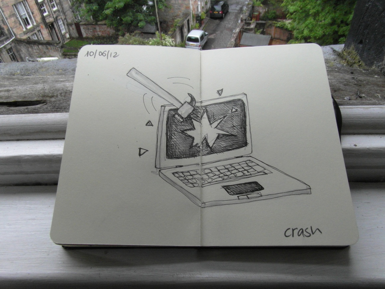 365 drawings later … day 131 … crash [screw you B. Gates]
