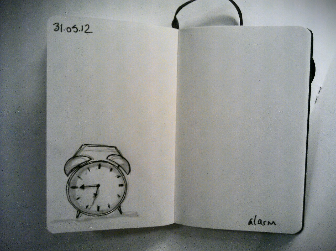 365 drawings later … day 121 … alarm (no sooner do I go to bed than I have to get up again)