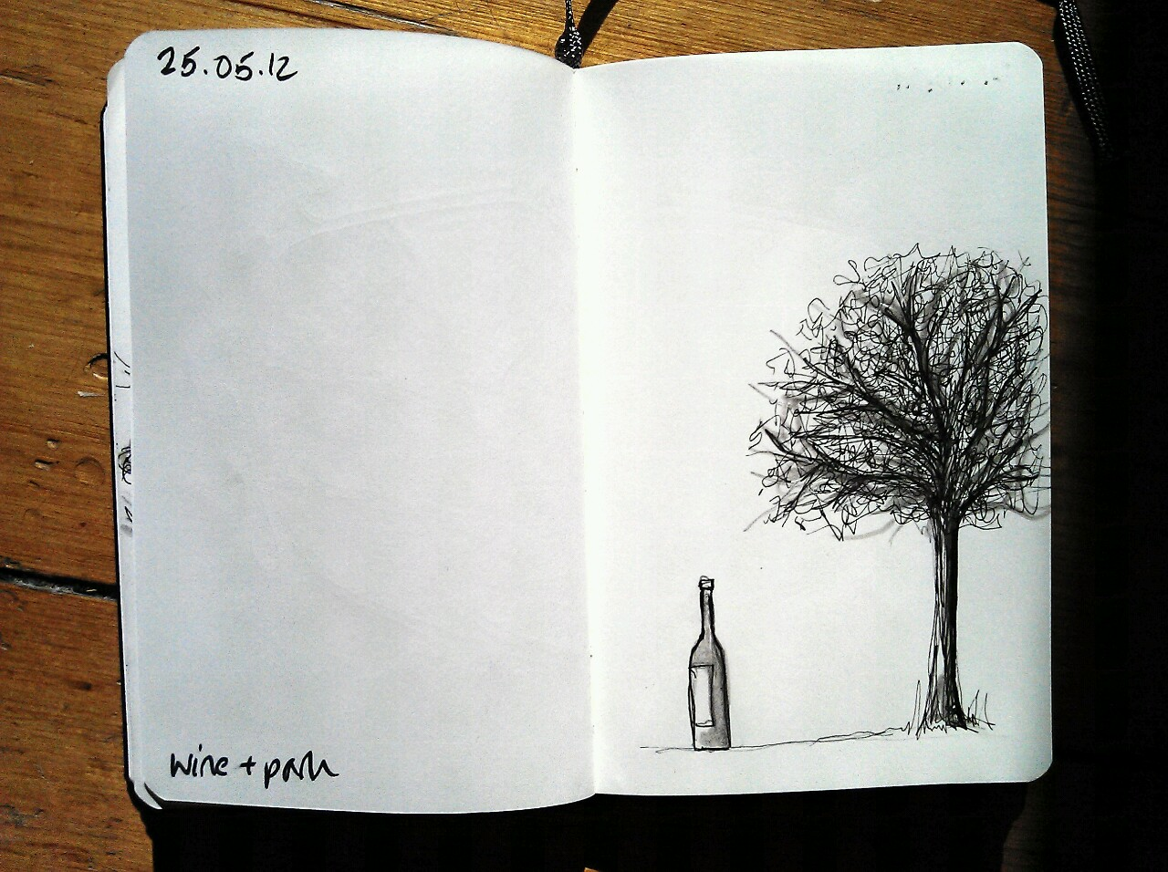 365 drawings later … day 115 … wine + park