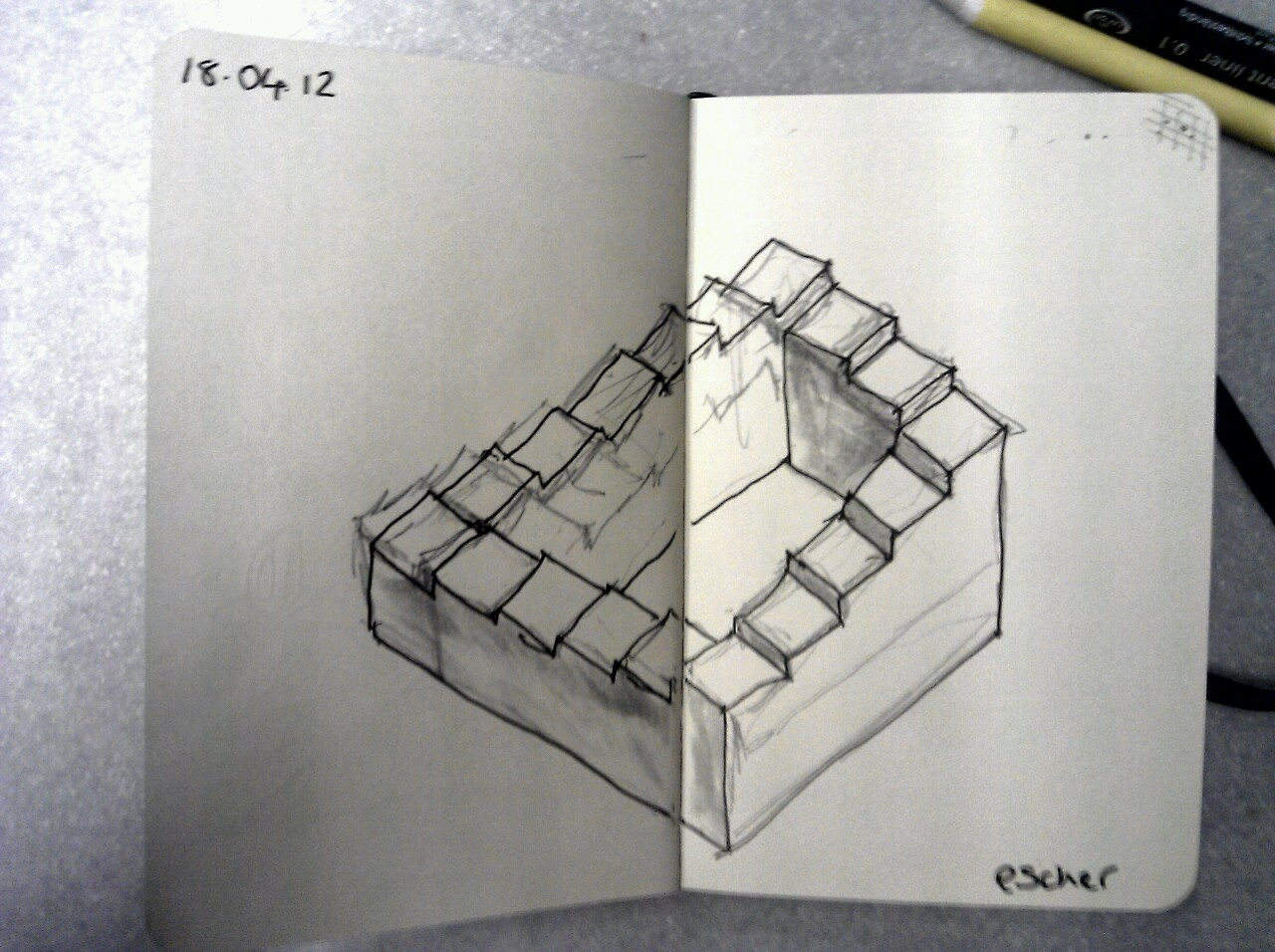 365 drawings later … day 78 … escher (a wobbly train version)
