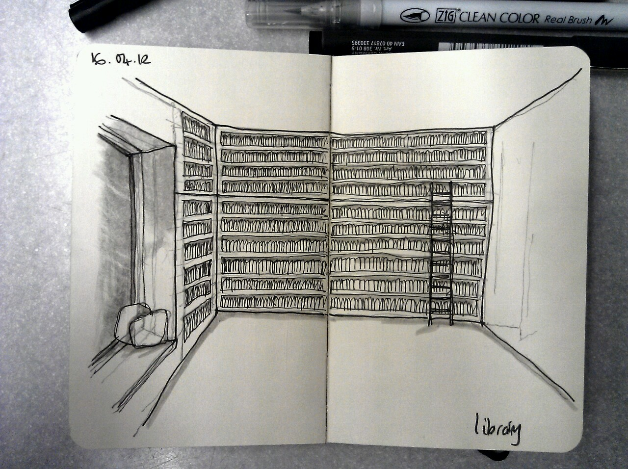 365 drawings later … day 76 … library (one day I'd love to have a library like this, and the time to enjoy it)
