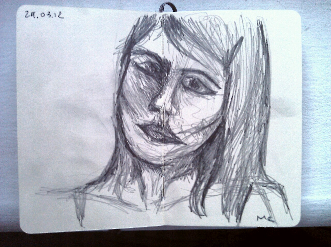 365 drawings later … day 58 … me (first attempt at a self portrait, looks nothing like me … think I'll stick to buildings)