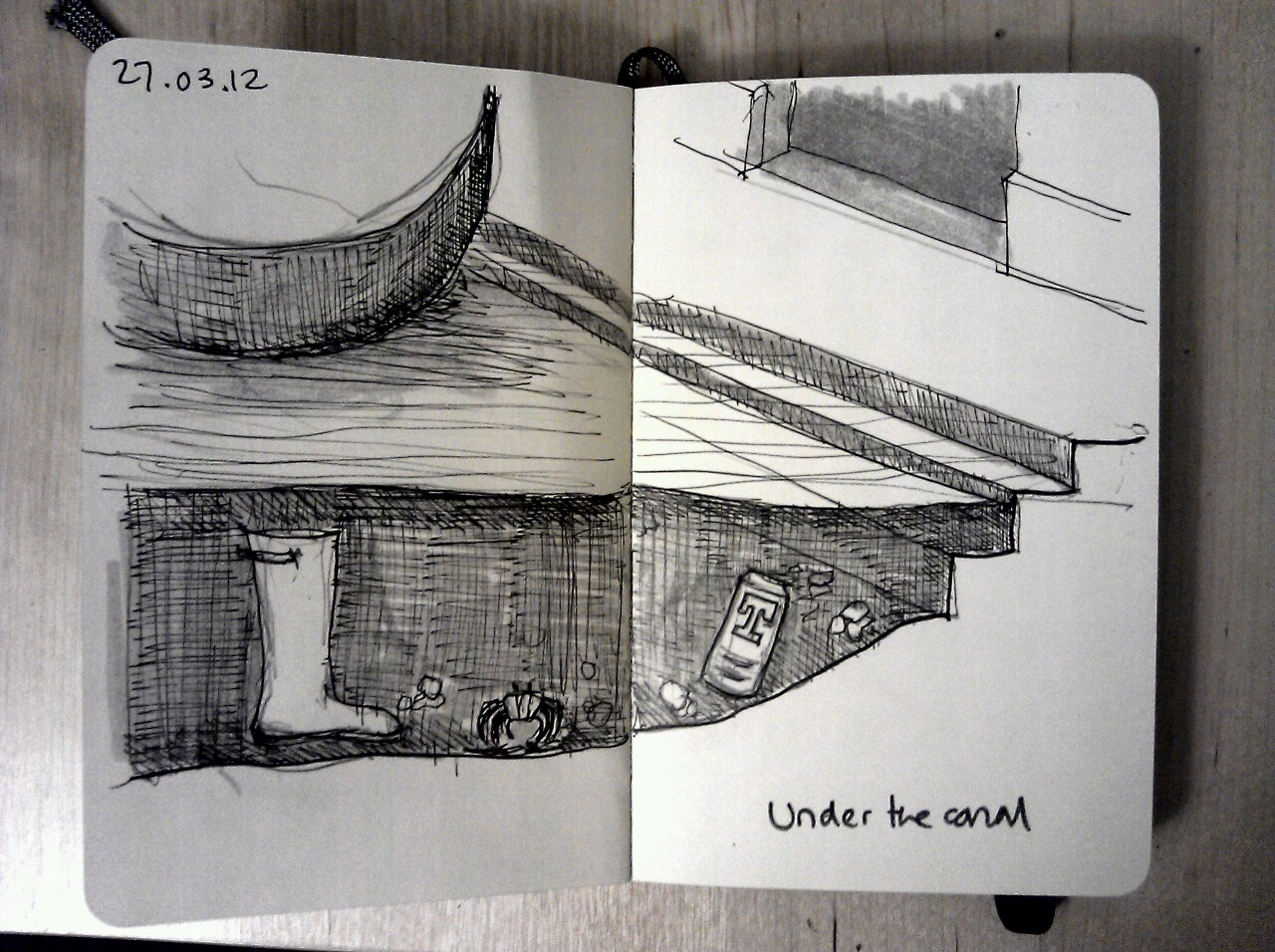 365 drawings later … day 56 … under the canal (a wellie, a crab, and a can o' tennents?)