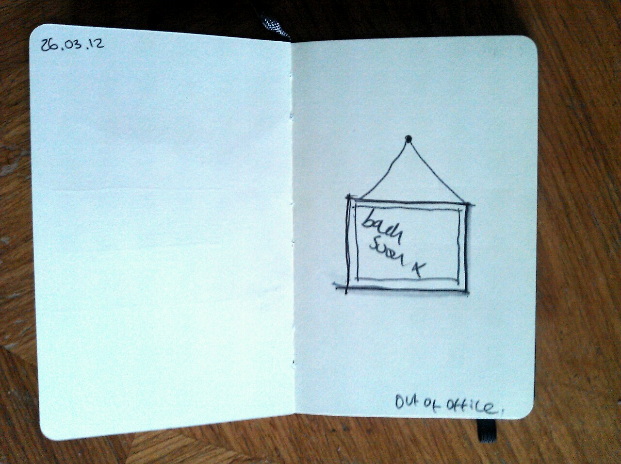 365 drawings later … day 55 … out of the office (I'm afraid I'm snubbing the wee moleskine tonight, the drawing board is lonely)