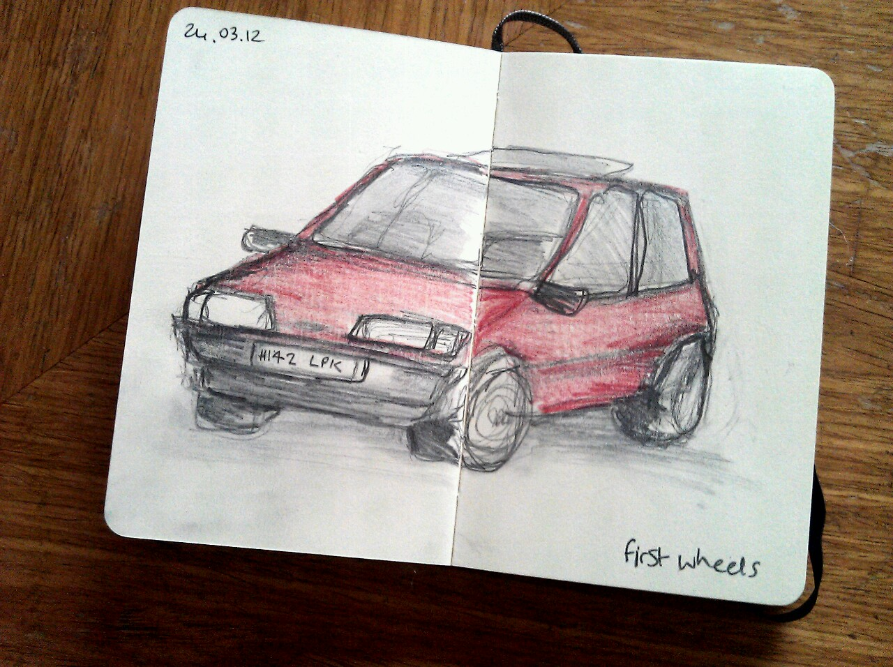 365 drawings later … day 53 … first wheels (today I learnt a can't draw cars)
