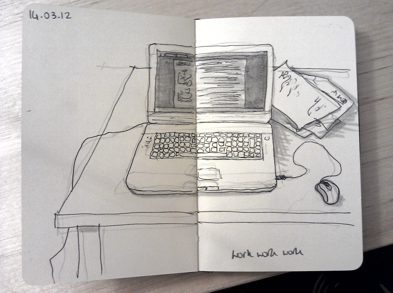 365 drawings later … day 43 … work work work (I reckon I'll be looking at this every evening for the foreseeable)