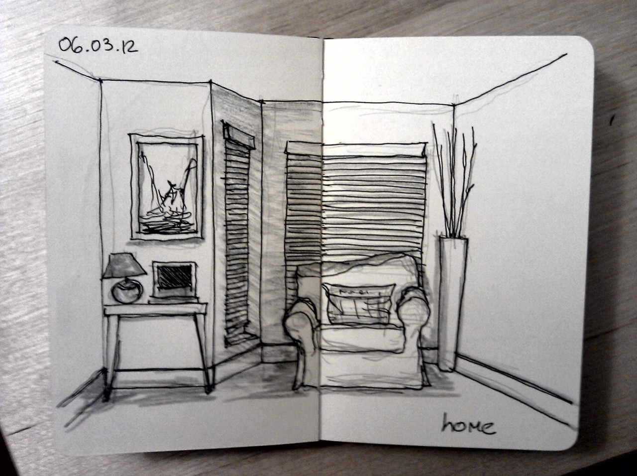 365 drawings later … day 35 … home (well for a little while more, I'll miss it)