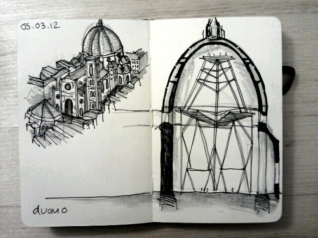 365 drawings later … day 34 … duomo (despite living in florence for 3 months, I didn't climb up the duomo, it's one of my biggest regrets and I will do it one day. I always think about the duomo when I'm disheartened with architecture … stifled within its crowded medieval streetscape, it is such an example of what you can achieve if you have a bloody good try)