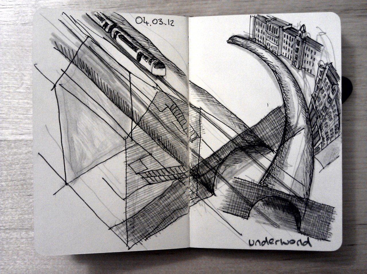 365 drawings later … day 33 … underworld (following an interesting chat about the underground tunnels in the merchant city, wish I had time for more detail)