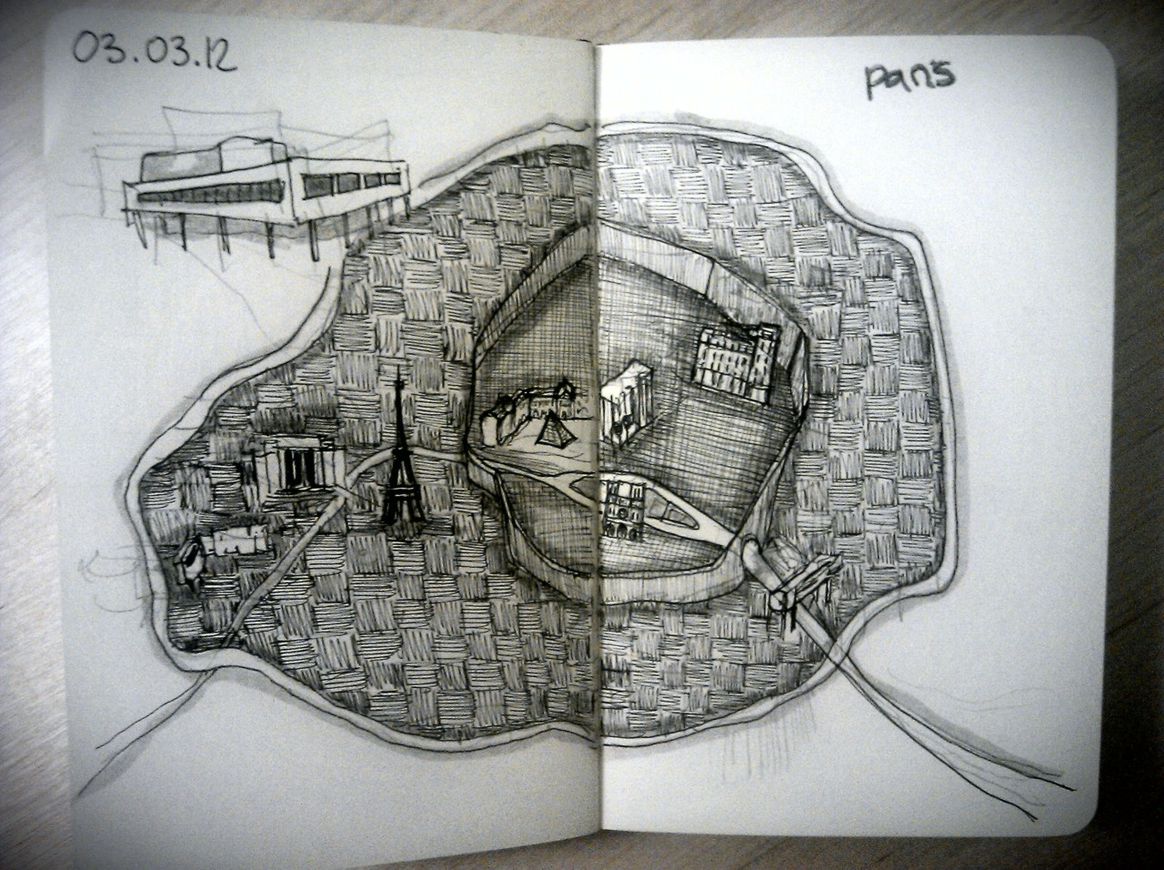 365 drawings later  … day 32 … paris (a few thoughts for my trip this week)