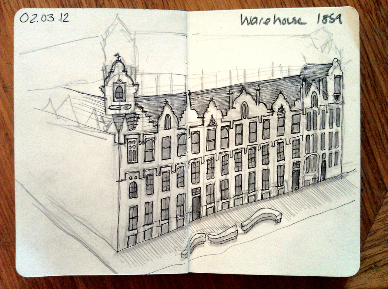 365 drawings later … day 31 … warehouse 1859 (this is the lovely building I live in at the moment, although not for much longer, I'm sad that I've never seen it like this, without scaffolding wrapped around it)