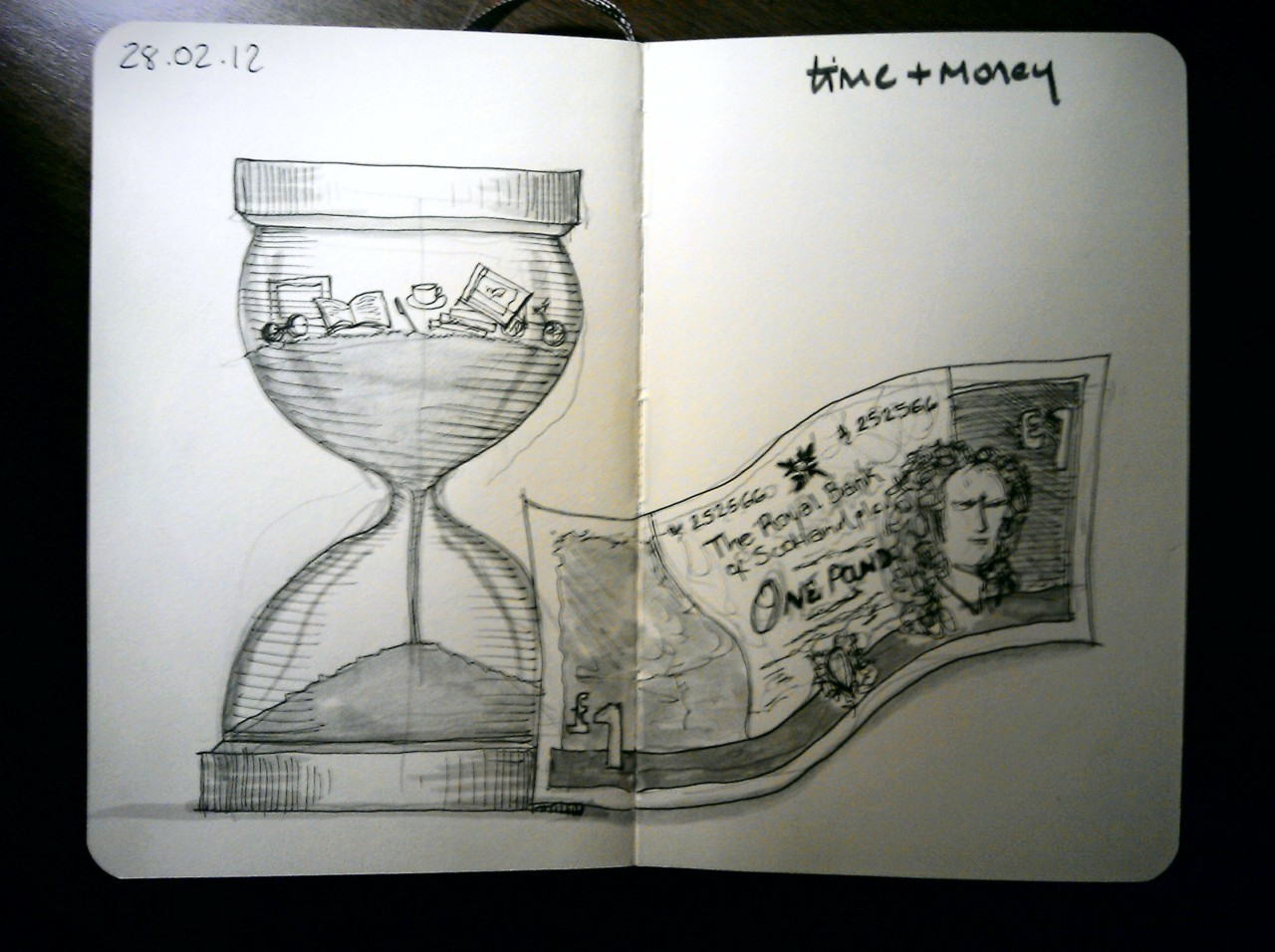 28 drawings later … day 28 … time + money (because there's never enough of either)