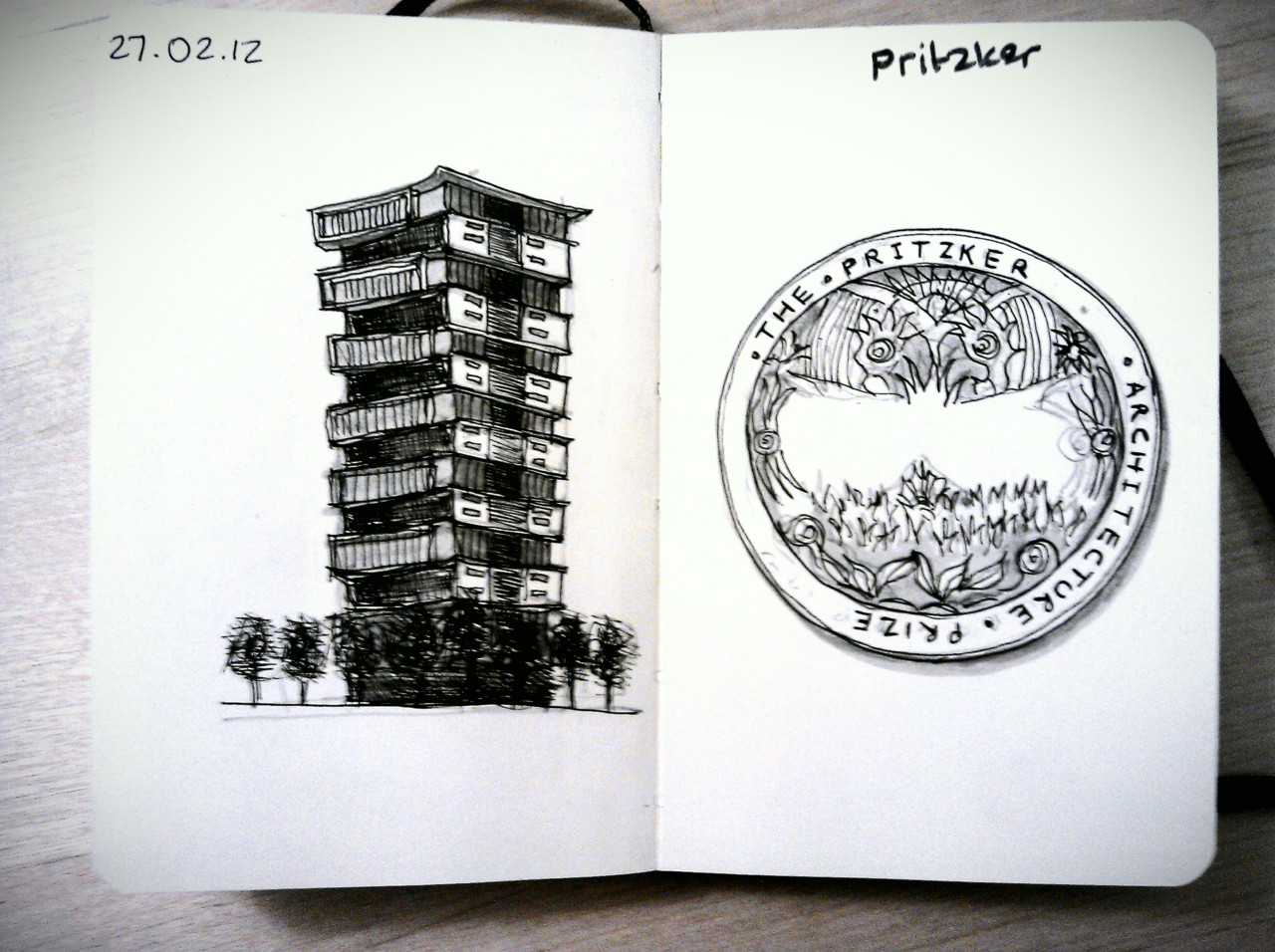 28 drawings later … day 27 … pritzker (congratulations wang shu)