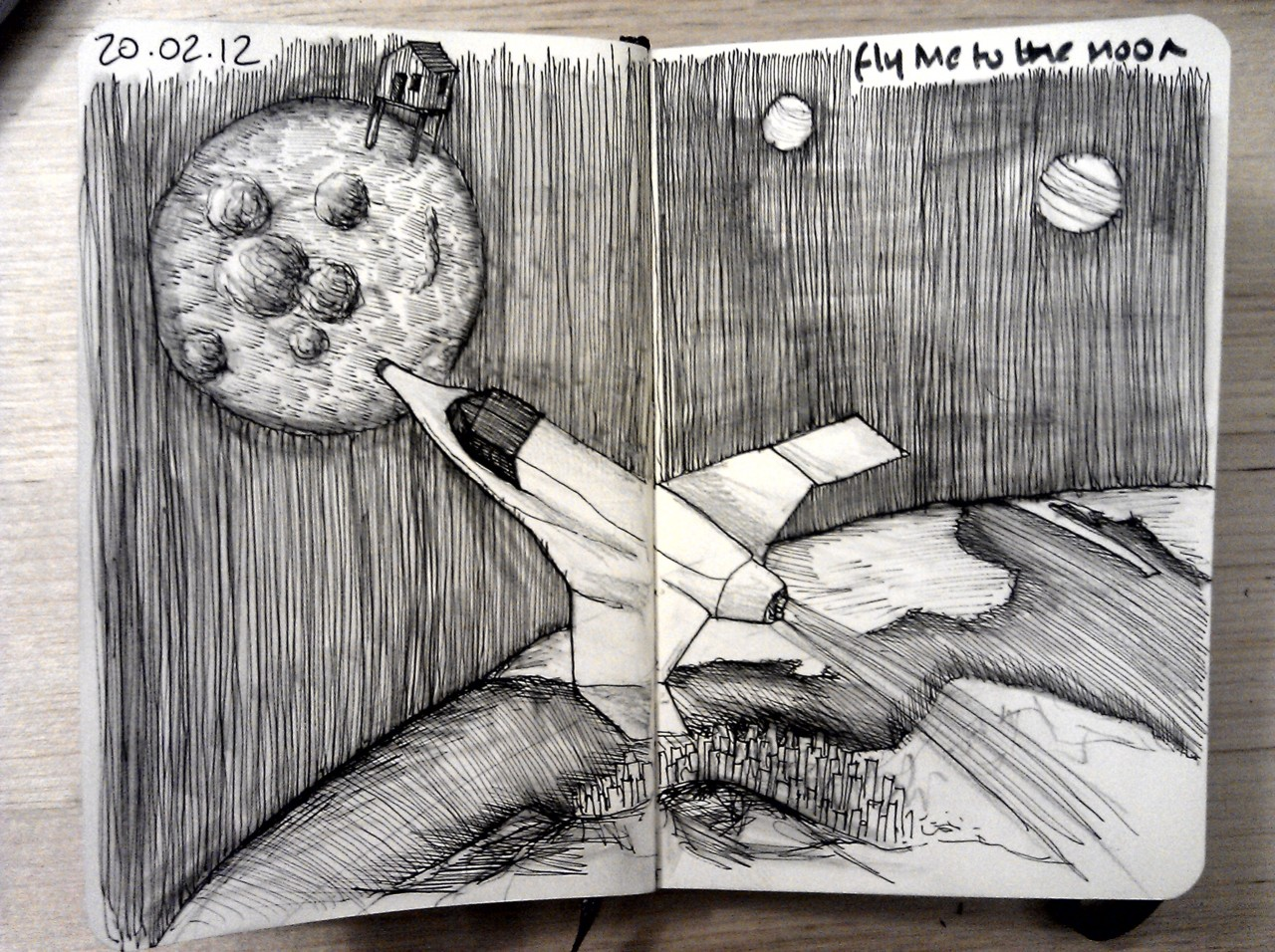 28 drawings later … day 20 … fly me to the moon (please? I need a holiday)