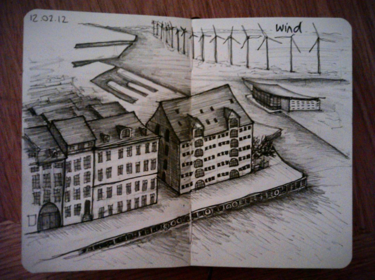 28 drawings later … day 12 … wind (dear Mr Trump, if copenhagen can do it, so can aberdeen)