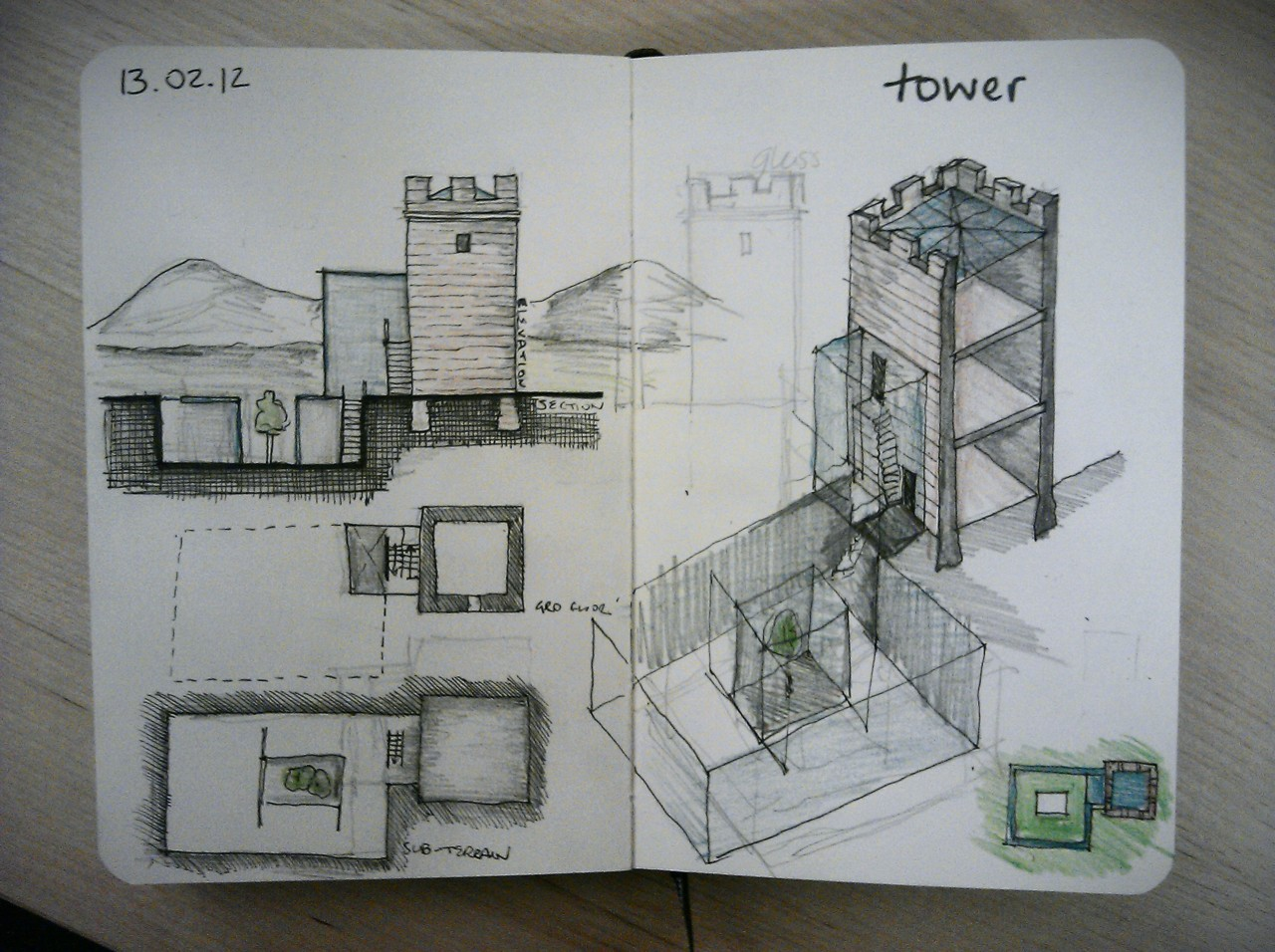 28 drawings later … day 13 … tower (a reaction to that silly tower project on restoration man a couple of weeks ago, its taken me this long to calm down)