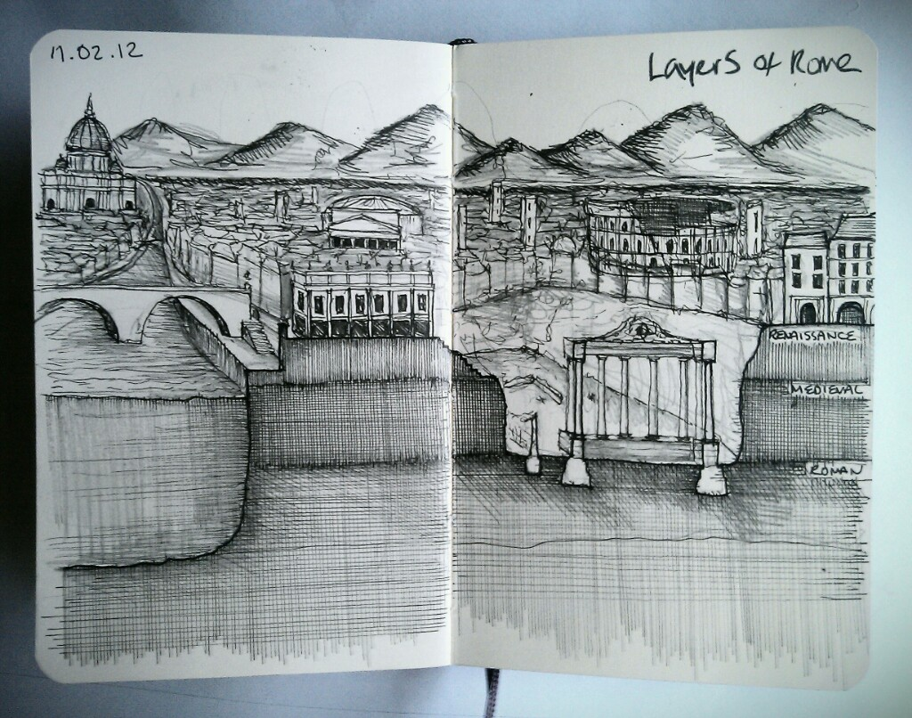 28 drawings later … day 11 … layers of rome (this drawing needs to be a lot bigger)
