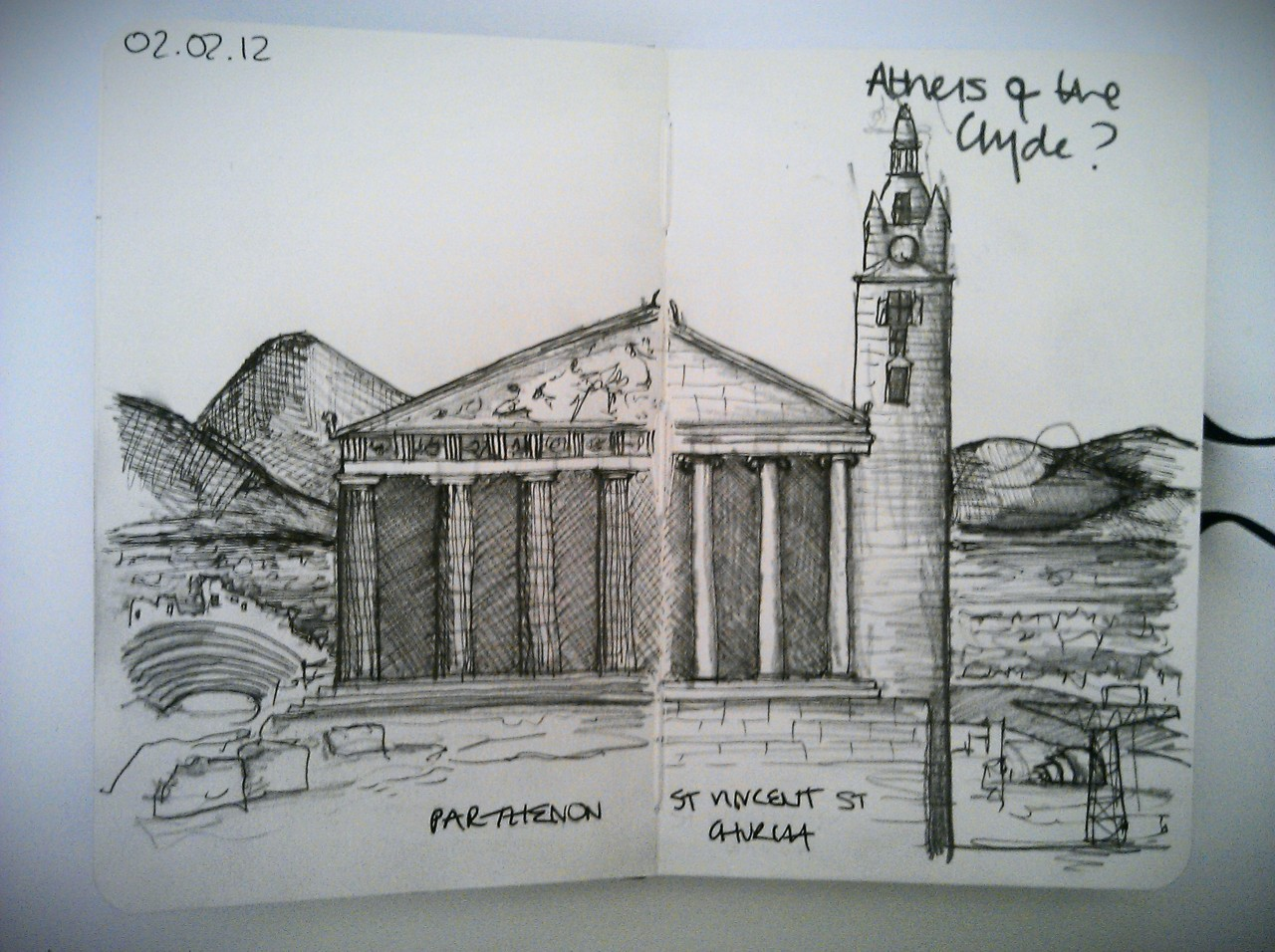 28drawingslater … day 2 … athens of the clyde? (what with all that Alexander Greek Thomson)    I feel the need to stress that these drawings are quick ideas, a quick scribble from brain to hand … they need a lot more work!