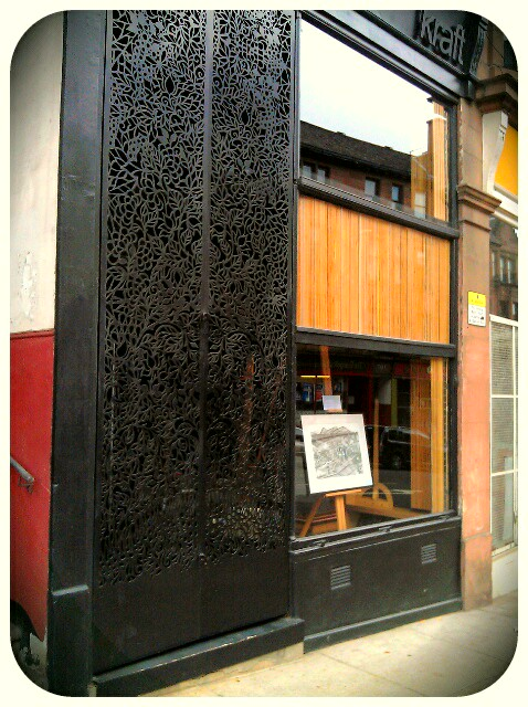 day 27 … ok, so no drawing today [yet] but here's the glesga one in the kraft window