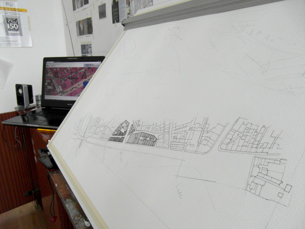 day 10 … past, present and future of Aberdeen - first layer of 1876 map taking shape