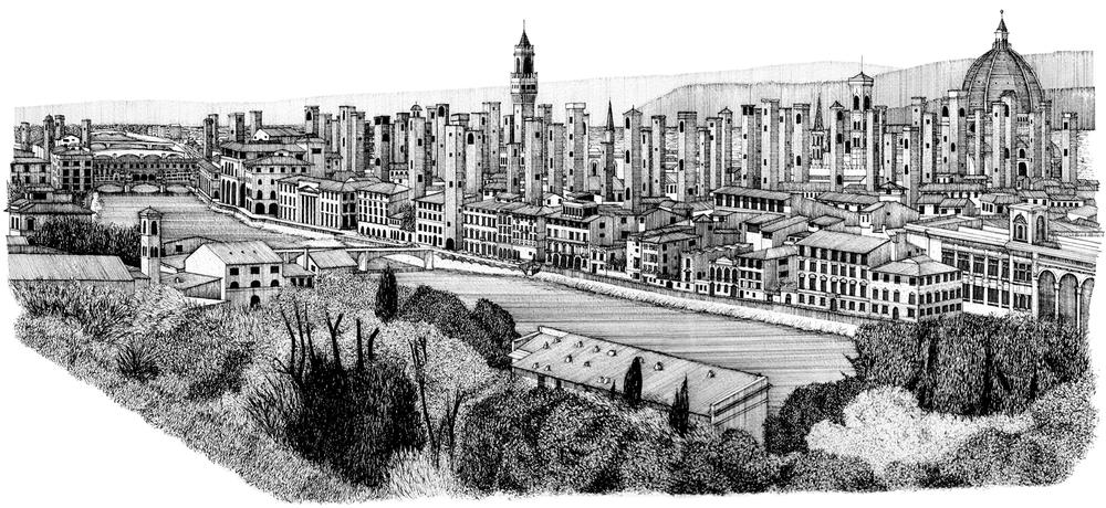Torri di Firenze, Ink Drawing, 2010.