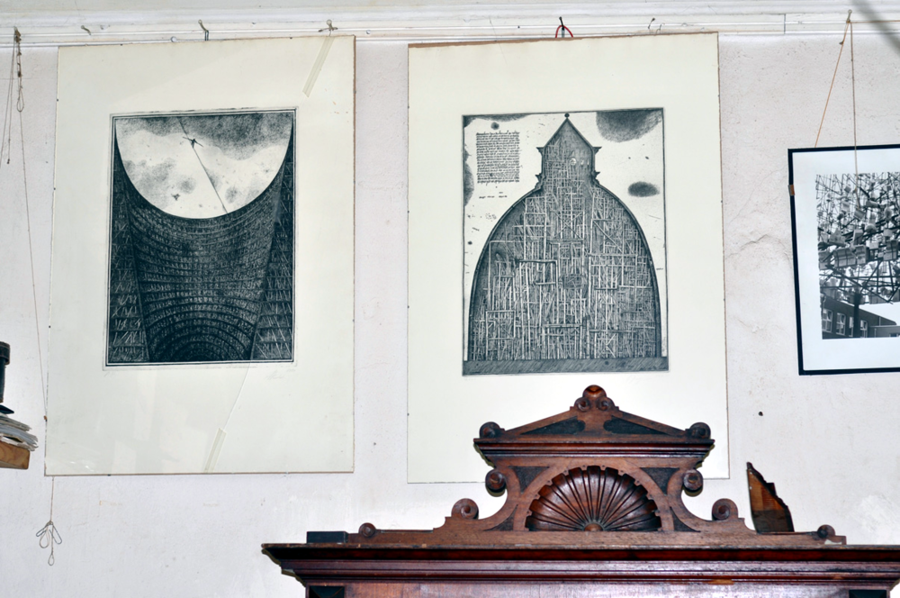 Etchings by Brodsky + Utkin in Ilya Utkin's Worskhop,  Moscow, 2012