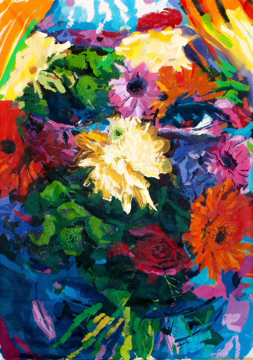 Flowerface, 3ft x 4ft oil on canvas 2018