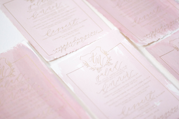 Design House of Moira | Bespoke Watercolor Wedding Invitations | Gold Foil