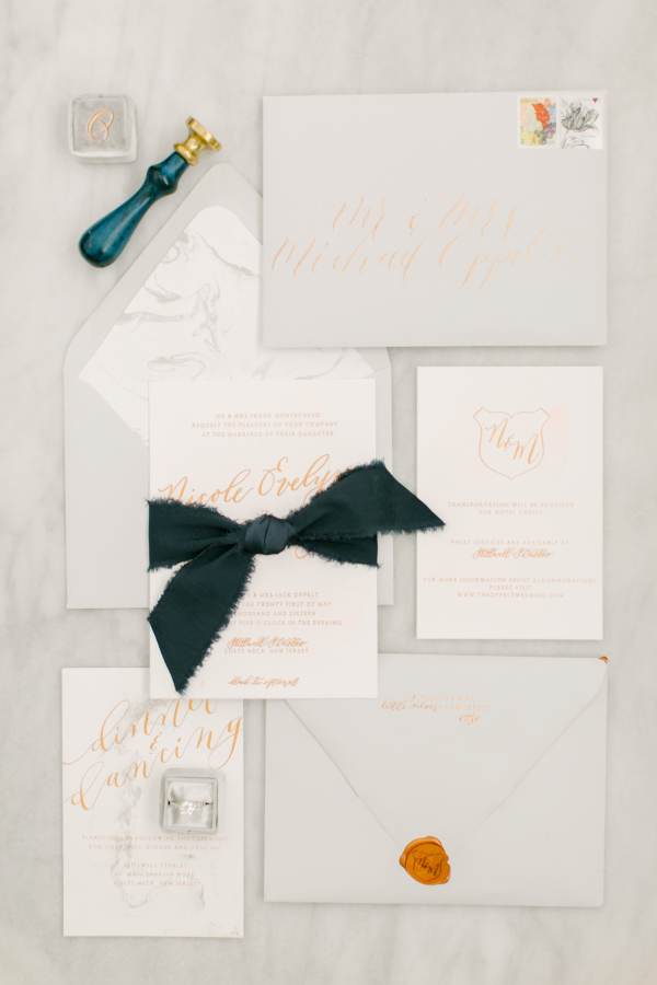 Design House of Moira | Foil Printed Marble Invitations | Love & Light Photography