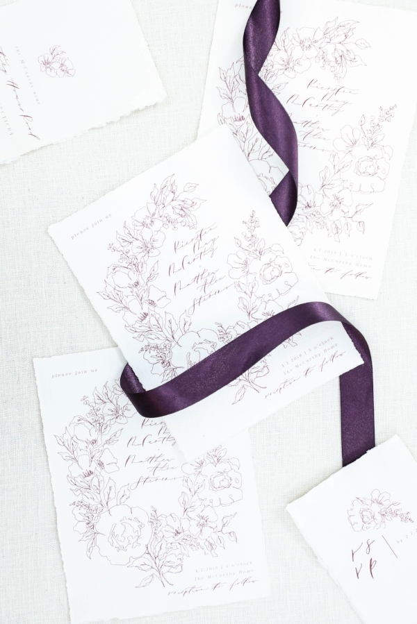 We kept the invitation fairly simple with a line botanical laurel and a modern calligraphy style.