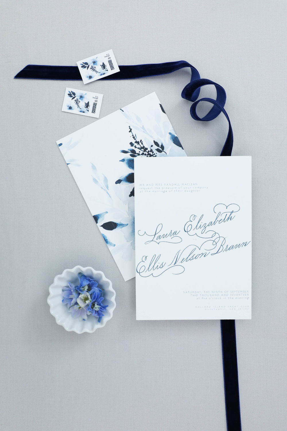 Laura & Ellis - shades of indigo, velvet, monochromatic, elegant, fall wedding