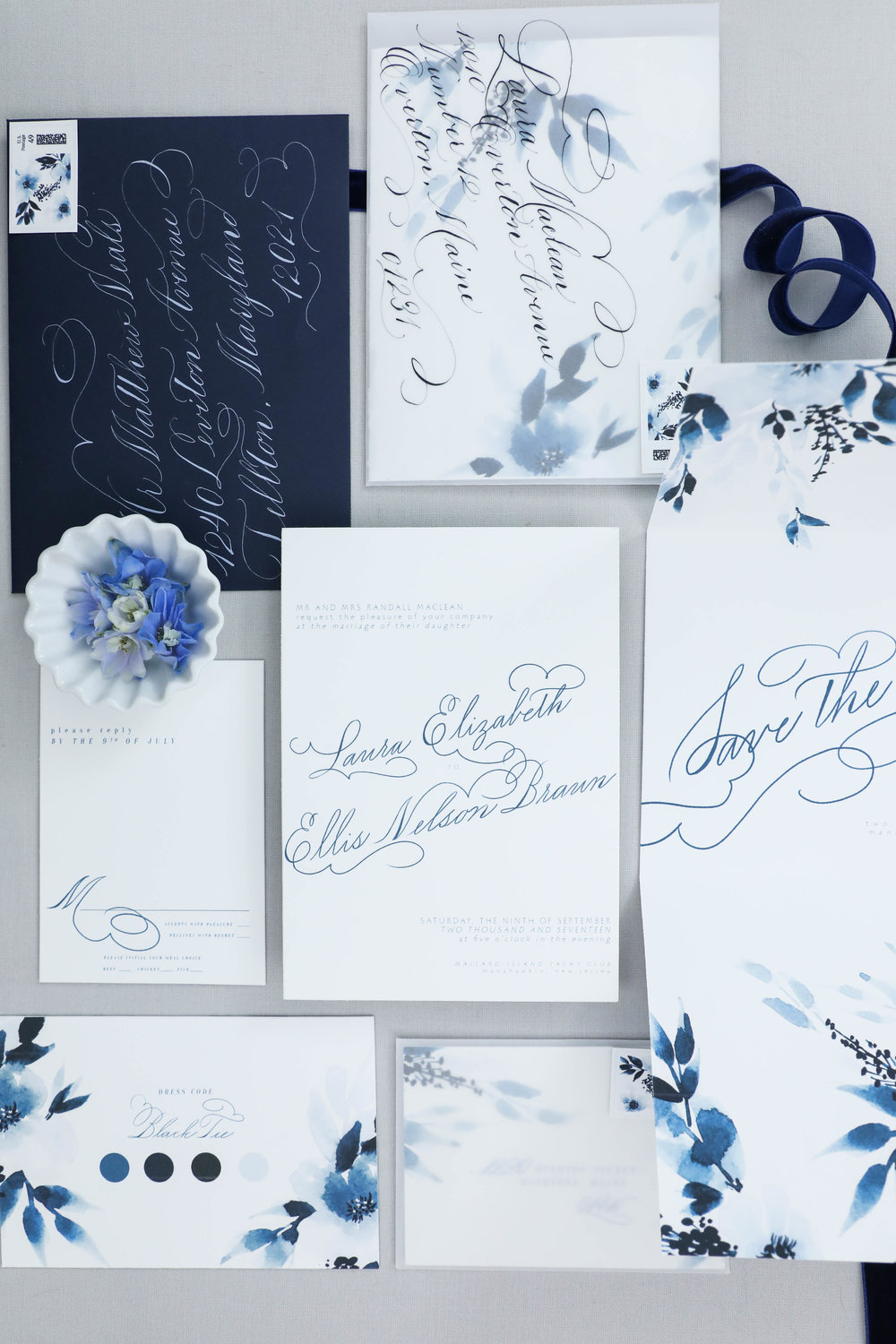 Superbe Design House Of Moira | Indigo Wedding Invitation
