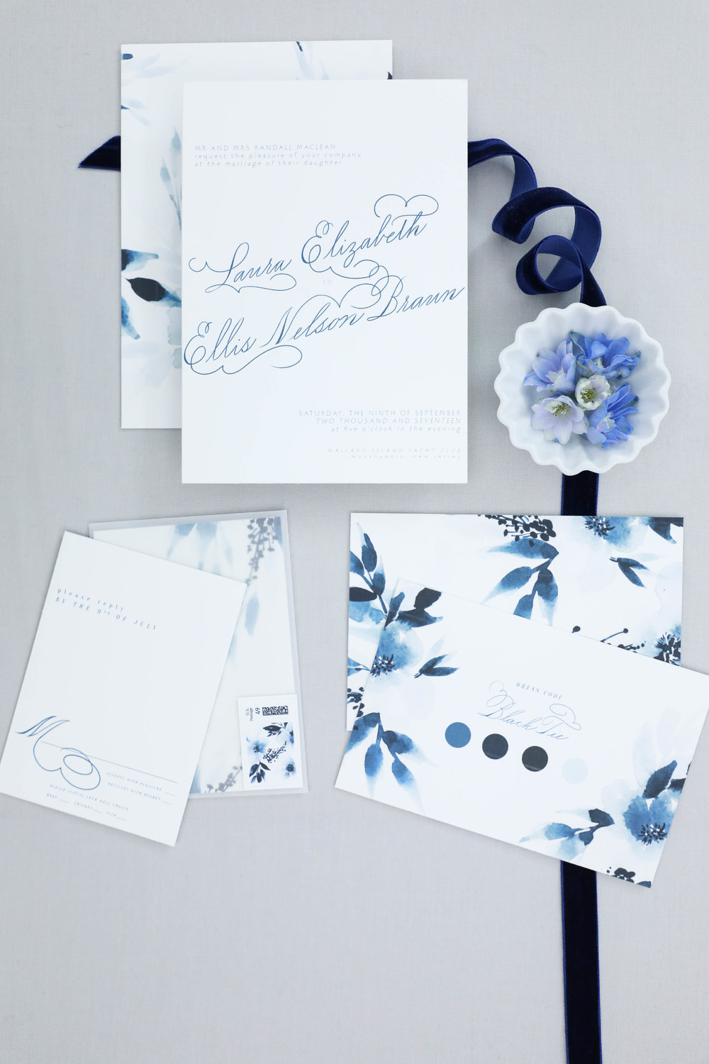 Design House of Moira | Indigo Wedding Invitation