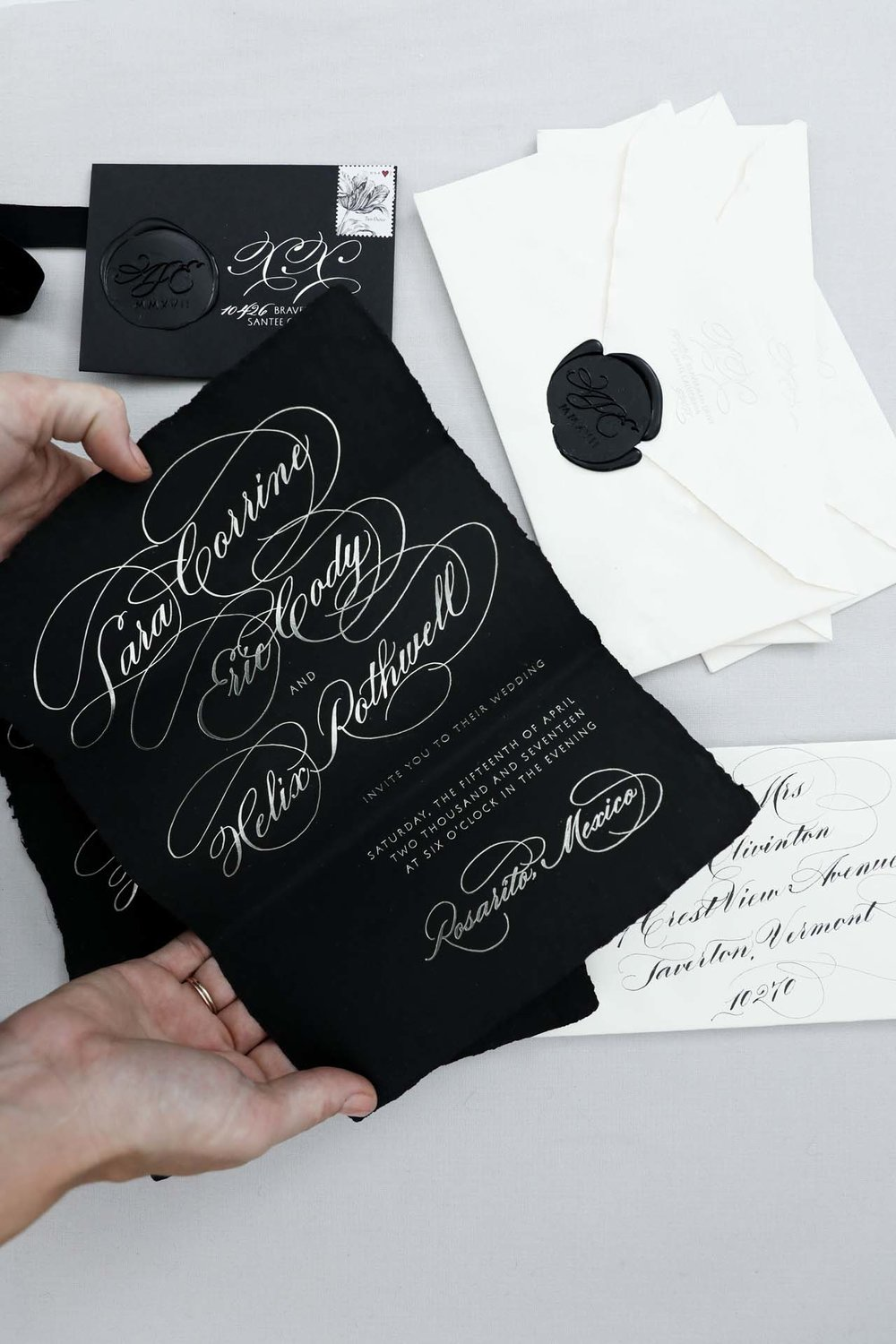Design House of Moira | Foil & Watercolor | Flourished Calligraphy | Handmade Paper