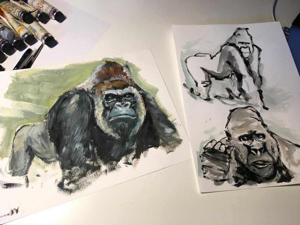 A character design process. I started with some ink sketches, then I painted with oils another pose of the gorilla. This led me to the creation of the though guy ready to smash faces.  Tools: ink, oils, Photoshop.