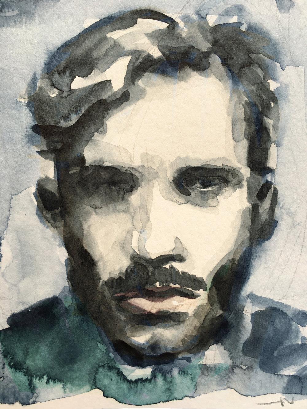 Self-portrait (2017) Tools: watercolors.