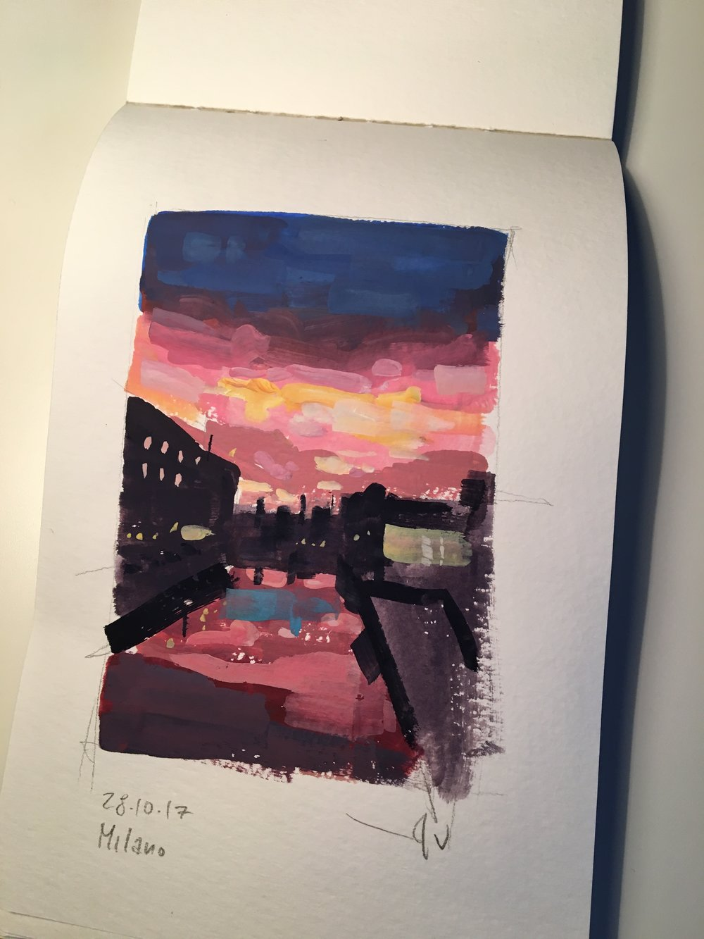 Sunset sketch  Tools: gouache.