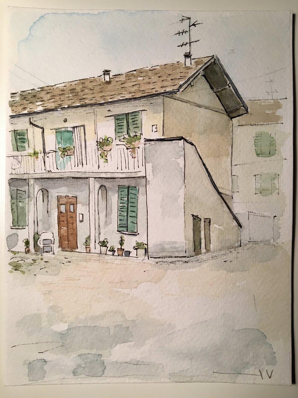 Grandma's home   Tools: watercolors, ink.