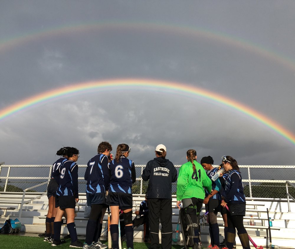 Half time double rainbow during 9/29/17 JV game at West Irondequoit stadium.