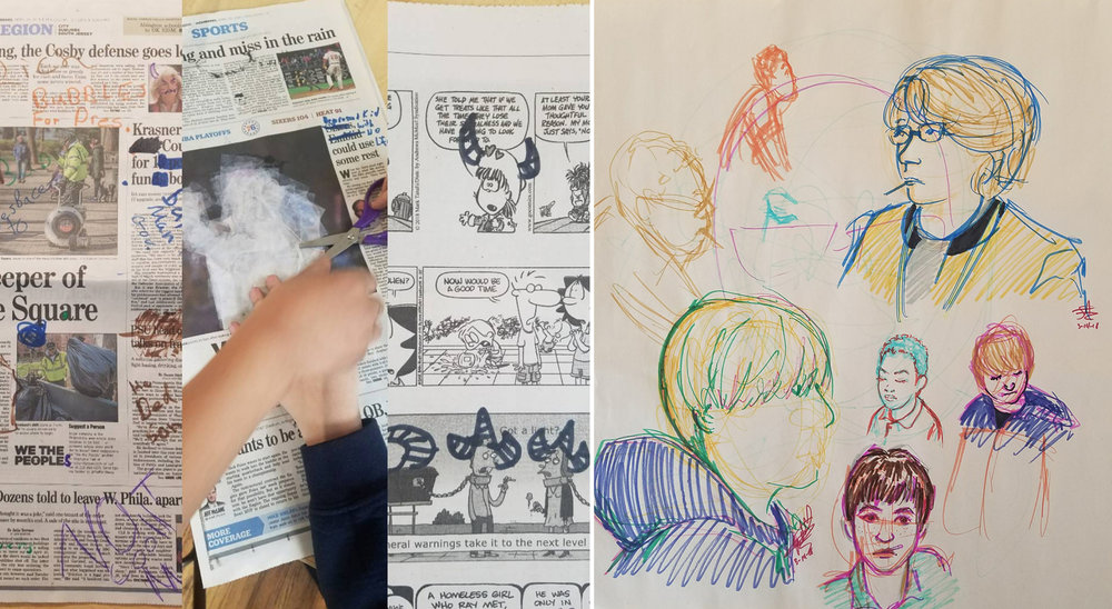 Left: The students created Nancy Chunn-inspired news responses on the local paper.  Right: I drew some of the students during class. They're fun to put down on paper.
