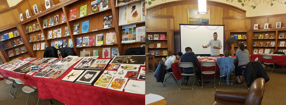 Left: Our setup. Three artists tabled this and last year:  Jessie Musto  and  Aremo Massa .  Right: Aremo teaches students how to create their own mini-comics.
