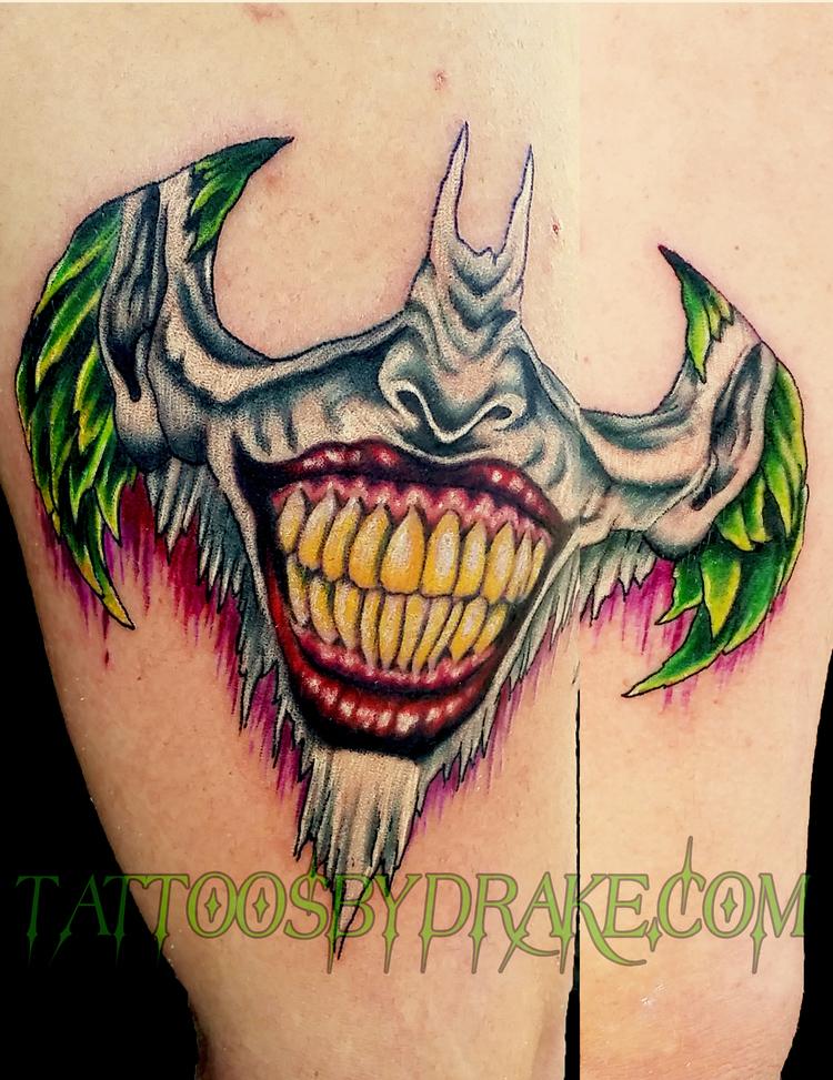 Batman logo tattoo images for Joker batman tattoo