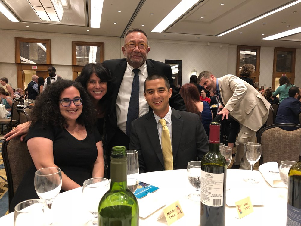 (at the Newbery/Caldecott banquet with Emily Feinberg, Neal Porter, Jason Chin)