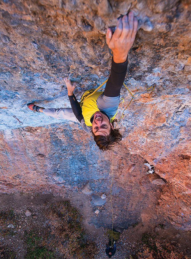 Photo © Michael Portanda Nathan Smith on his route Boris Badenov 5.12a. The Dead Moose Wall, Utah