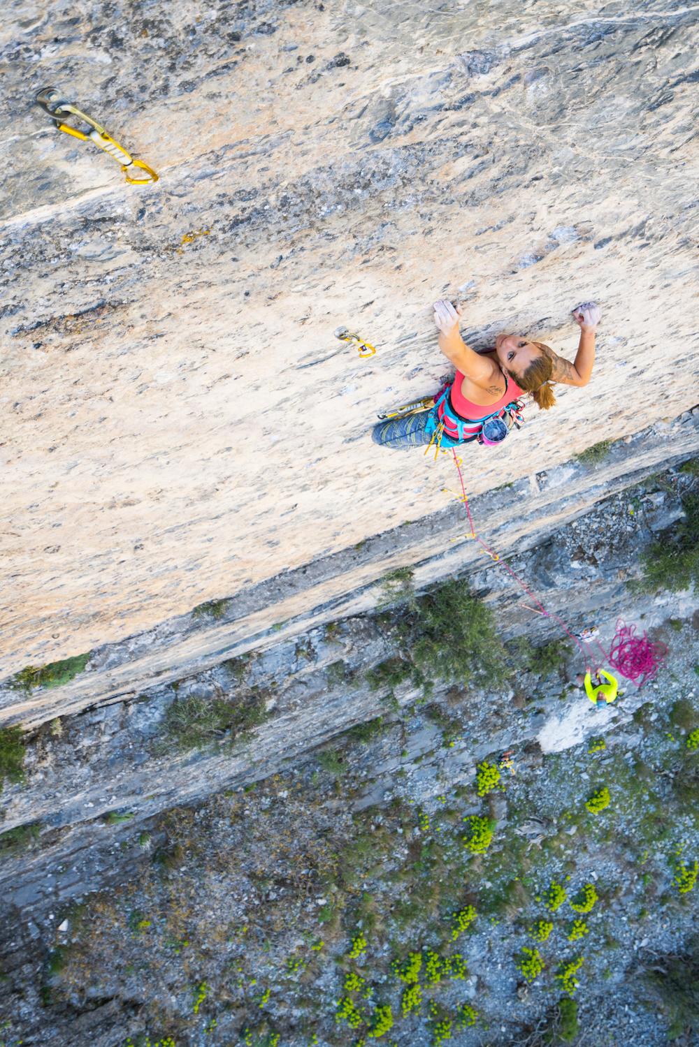"Fallon climbing ""Learning to Fly"" 5.11d, The Balcony, Rock Canyon, Utah Photo: Nathan Smith"