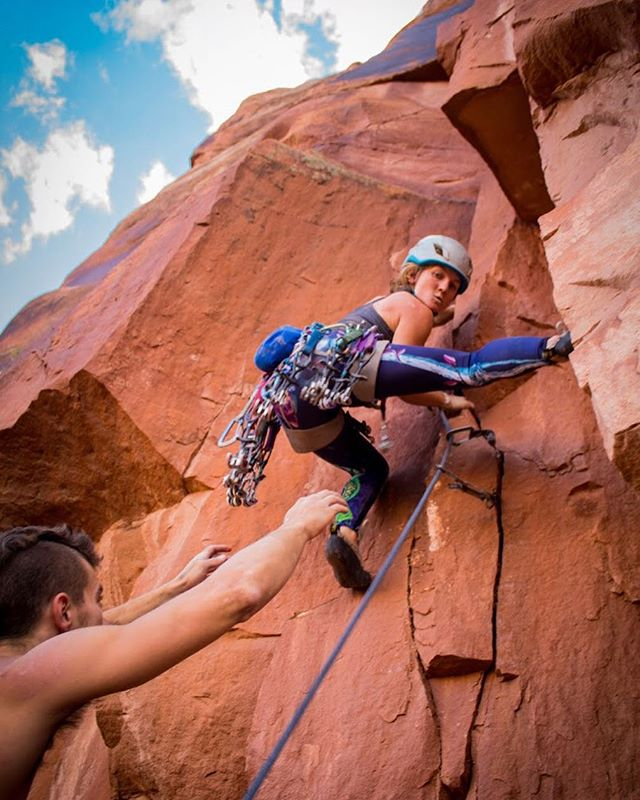 """My long term climbing goal is to be able to onsight 5.12 in any style, and finish my AMGA Rock Guide certification. I would love to summit all the classic desert towers, climb scary hard routes in the Black Canyon of Gunnison, and one day, free moonlight buttress. But mostly I want to have fun with my climbing family. "" Get to know @tradprincess at the link in our profile . . . 📷: @mersendyclimberson . . . #Cypherclimbing #climbing #rockclimbing #tradclimbing #climb #utahclimbing #cypherambassador #moab #tradisrad #girlswhoclimb #womenclimbing #indiancreek"