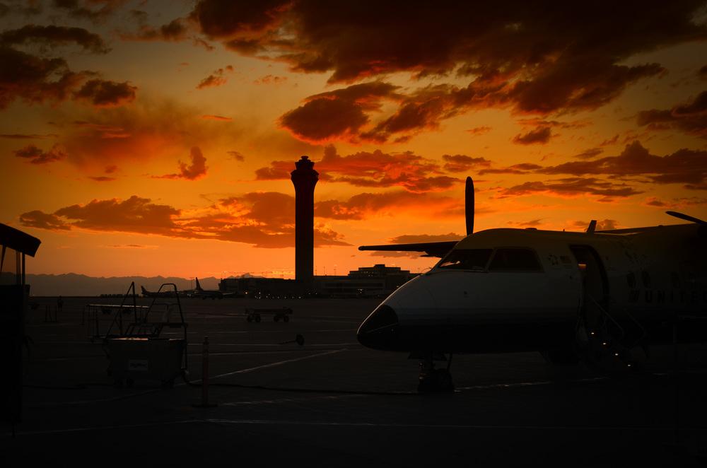 Sunset at Denver International Airport