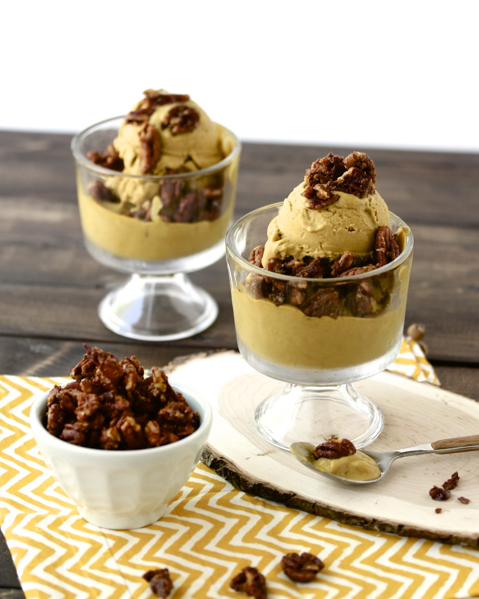 Browned Butter Ice Cream with Candied Pecans
