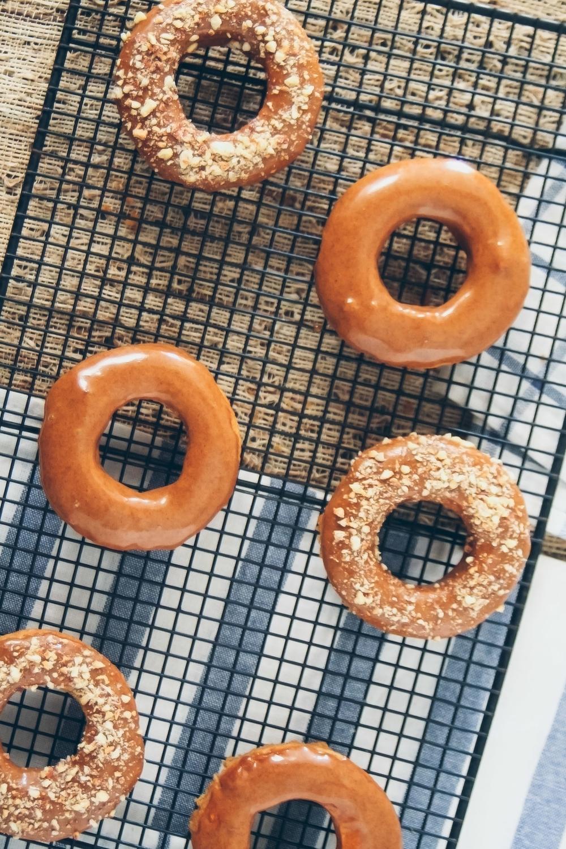 baked cinnamon roll donuts via barerootgirl.com